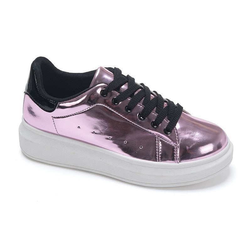 Purple Solid Pattern Flat Sole Patent Leather Fabric Insole Casual Shoe For Women
