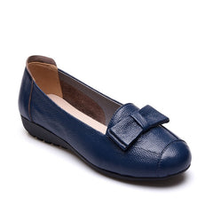 Blue Genuine Leather Bowtie Deco PU Insole & Outsole Casual Shoe For Women