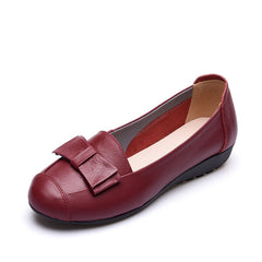 Red Genuine Leather Bowtie Deco PU Insole & Outsole Casual Shoe For Women