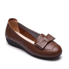 Brown Genuine Leather Bowtie Deco PU Insole & Outsole Casual Shoe For Women