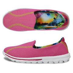 Pink Breathable Round Toe Patchwork Pattern Canvas Lining Casual Shoe For Women