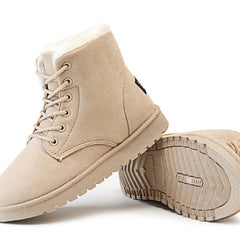 Khaki Nubuck Leather Solid Pattern Plush Lining Lace-Up Closure Boot For Women