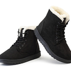 Black Nubuck Leather Solid Pattern Plush Lining Lace-Up Closure Boot For Women