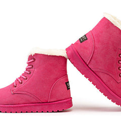 Pink Nubuck Leather Solid Pattern Plush Lining Lace-Up Closure Boot For Women
