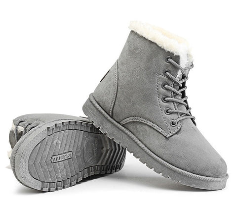 Grey Nubuck Leather Solid Pattern Plush Lining Lace-Up Closure Boot For Women