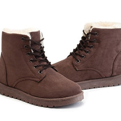 Brown Nubuck Leather Solid Pattern Plush Lining Lace-Up Closure Boot For Women
