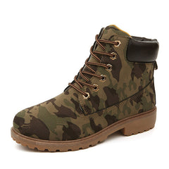 Camo Soft Leather Mesh Lining Solid Pattern Lace-Up Closure Boot For Women