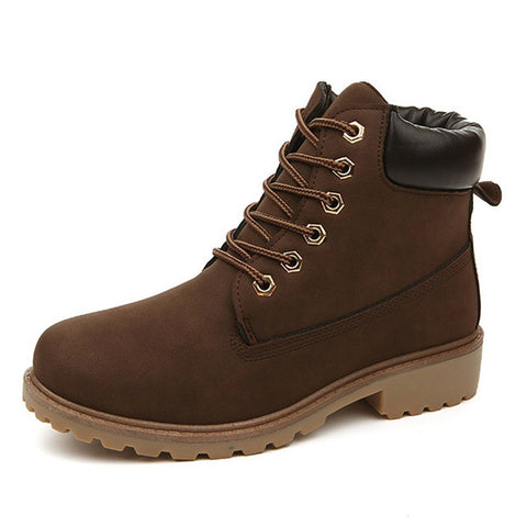 Brown Soft Leather Mesh Lining Solid Pattern Lace-Up Closure Boot For Women