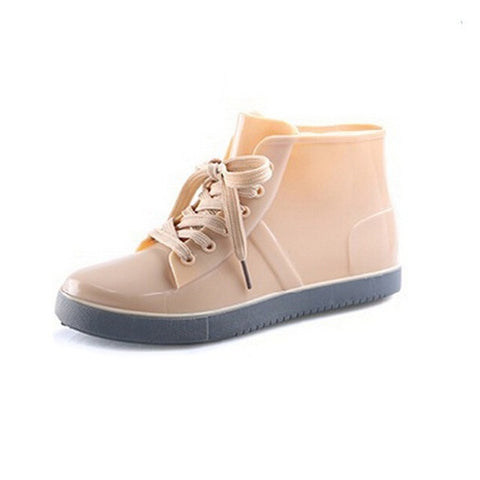 Patent Leather Lace-Up Closure Canvas Lining Casual Shoe For Women