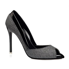 Dark Grey Sequined Fabric Slip-On Closure Latex Insole Heels Shoe For Women