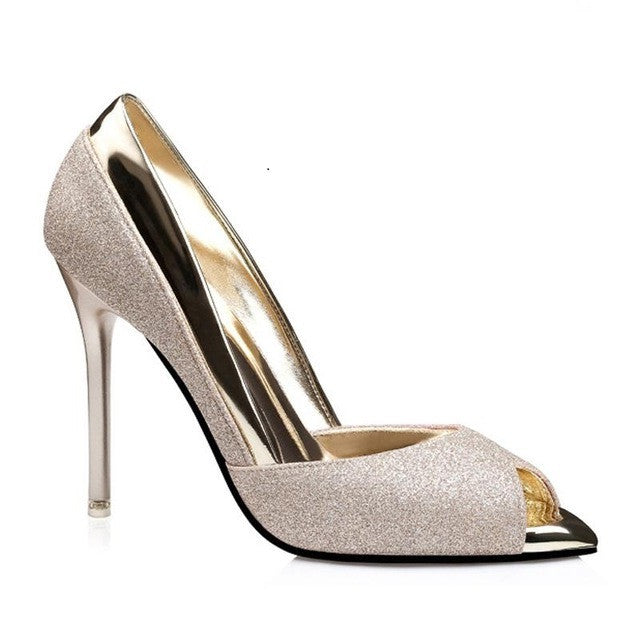 Burlywood Sequined Fabric Slip-On Closure Latex Insole Heels Shoe For Women