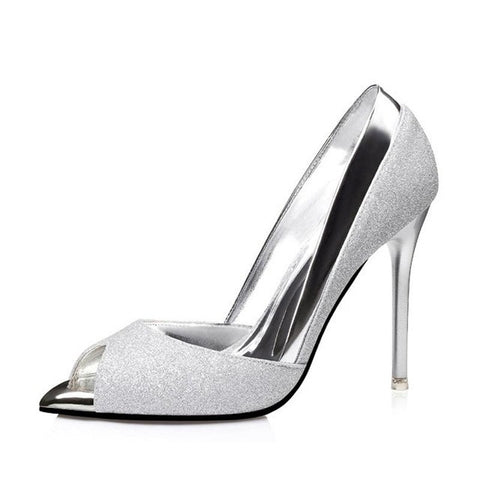 Silver Sequined Fabric Slip-On Closure Latex Insole Heels Shoe For Women