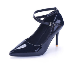 Genuine Leather Slip-On Closure PU Lining Heels Shoe For Women