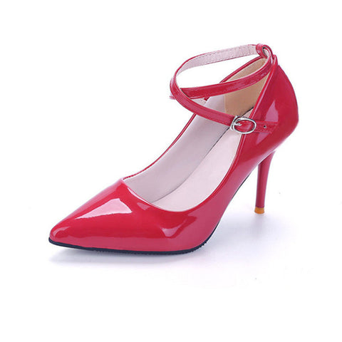 Red Genuine Leather Slip-On Closure PU Lining Heels Shoe For Women
