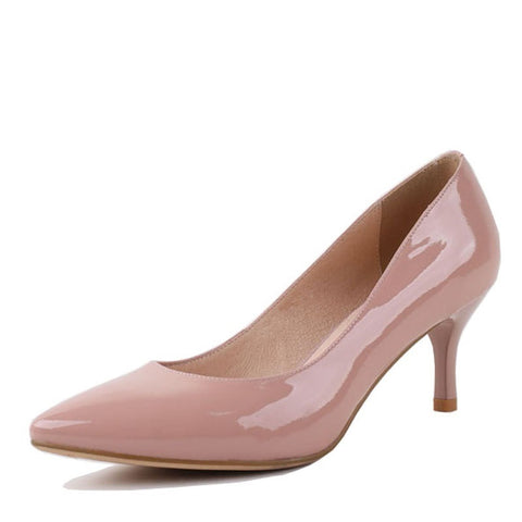 Genuine Leather hand-Made Slip-On Closure Pointed Toe Heels Shoe For Women