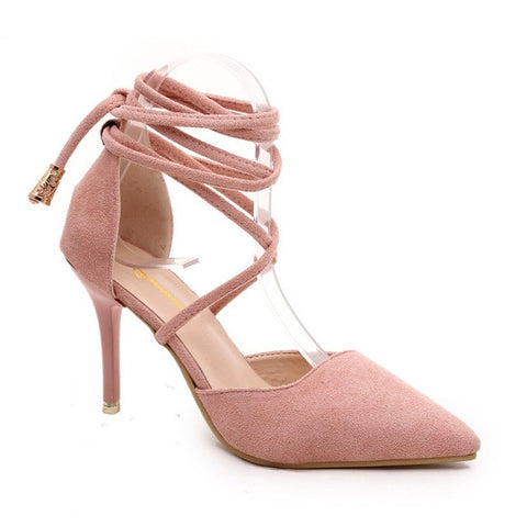 Dark Salmon Nubuck Leather Lace-Up Closure High Heels Shoe For Women