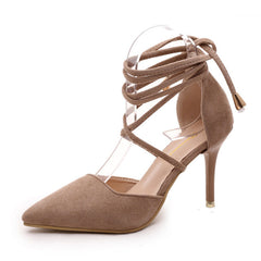 Burlywood Nubuck Leather Lace-Up Closure High Heels Shoe For Women