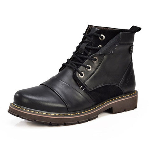 Black Solid Pattern Split Leather Lace-Up Closure Eva Insole Ankle Boot For Men