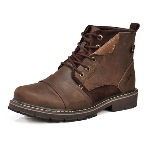 Brown Solid Pattern Split Leather Lace-Up Closure Eva Insole Ankle Boot For Men