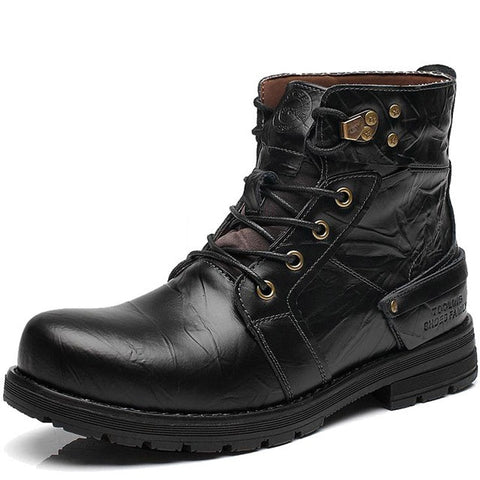 Black Solid Pattern Cow Split Embossed Leather Plush Lining Ankle Boot For Men