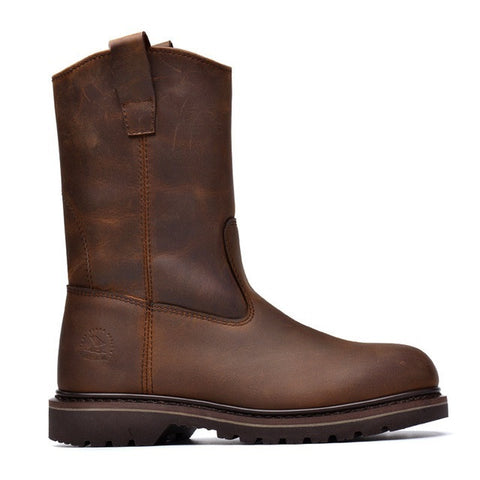 Brown Solid Pattern Genuine Cow Leather Plain Deco Rubber Outsole Boot For Men