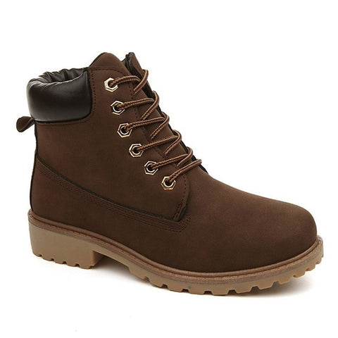 Dark Brown Flock Upper Material Plush Lining Lace-Up Closure Boot For Men