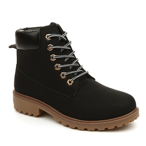Black Flock Upper Material Plush Lining Lace-Up Closure Boot For Men