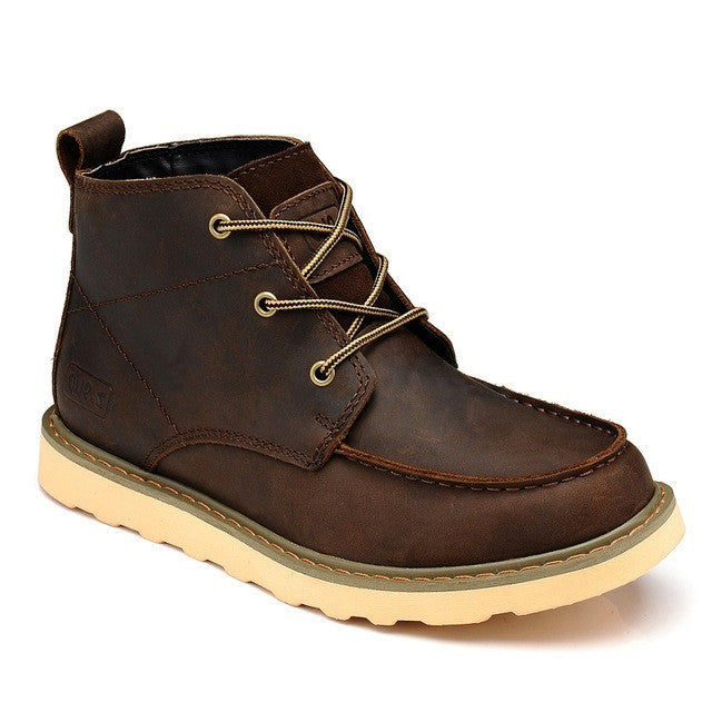 Brown Round Toe Polyester Lining Genuine Leather Ankle Boot For Men