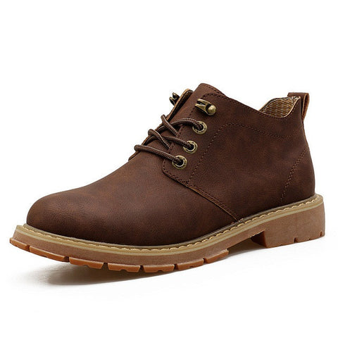 Dark Brown Genuine Leather Eva Insole Synthetic Lining Ankle Boot For Men