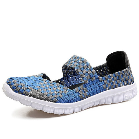 Gingham Pattern Elastic Closure Handmade Woven Casual Shoe For Women - A5