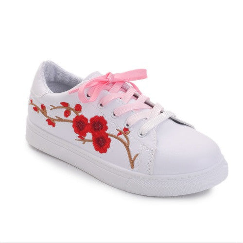 Bonded Leather Lace-Up Closure Sneakers Casual Shoe For Women - A9
