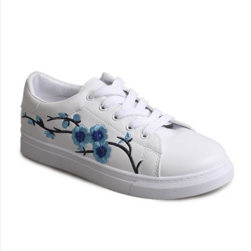 Bonded Leather Lace-Up Closure Sneakers Casual Shoe For Women - A10