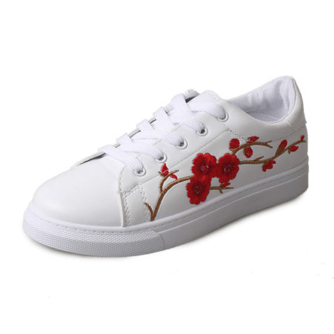 Bonded Leather Lace-Up Closure Sneakers Casual Shoe For Women - A12
