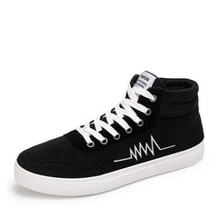 Black Lace-Up Closure Cotton Lining Flock Upper Material Casual Shoe For Men