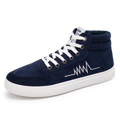Blue Lace-Up Closure Cotton Lining Flock Upper Material Casual Shoe For Men