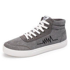 Grey Lace-Up Closure Cotton Lining Flock Upper Material Casual Shoe For Men