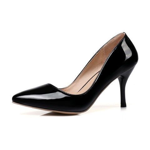 Black Pointed Toe Buckle Strap Closure Ankle Strap Pump Heels Shoe For Women
