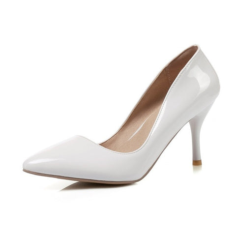 White Pointed Toe TPR Insole PU Lining Slip-On Closure Heels Shoe For Women