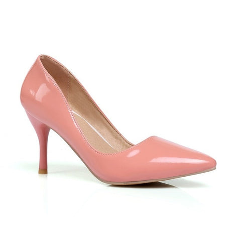 Salmon Pointed Toe TPR Insole PU Lining Slip-On Closure Heels Shoe For Women