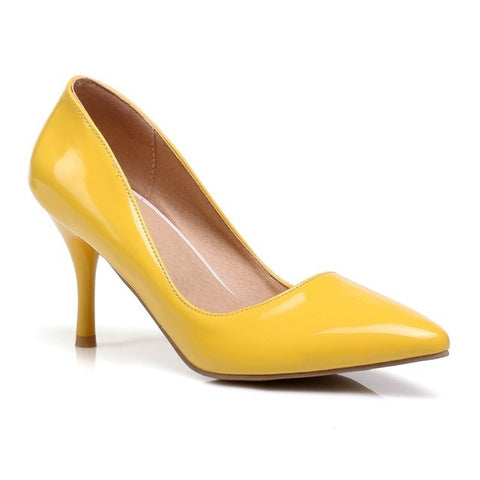 Yellow Pointed Toe TPR Insole PU Lining Slip-On Closure Heels Shoe For Women