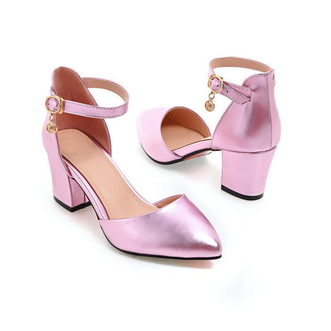 Pink Pointed Toe Buckle Strap Closure Ankle Strap Pump Heels Shoe For Women