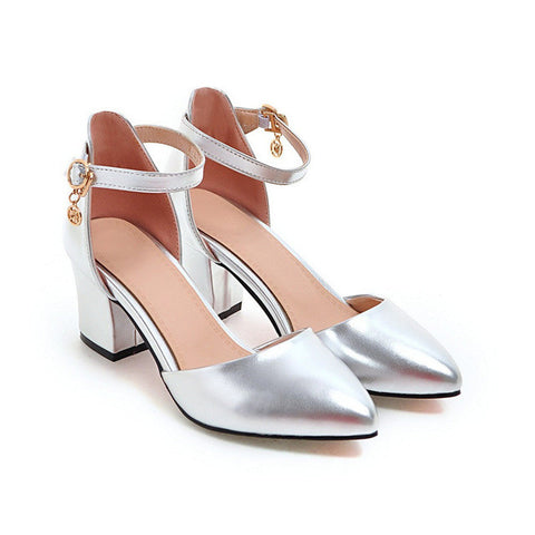 Silver Pointed Toe Buckle Strap Closure Ankle Strap Pump Heels Shoe For Women