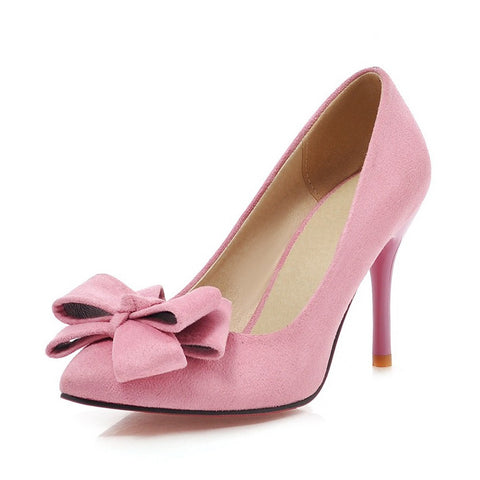 Pink Butterfly-Knot Synthetic Lining Flock Upper Material Heels Shoe For Women