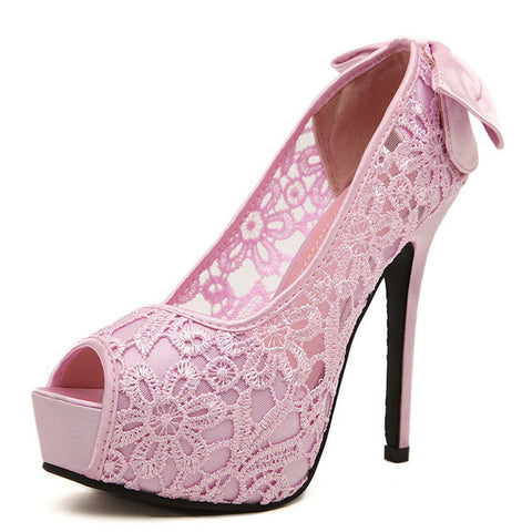 Pink Peep Toe Slip-On Closure Rubber Outsole & Insole Heels Shoe For Women