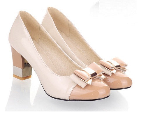Burlywood Toe Butterfly Knot PU Lining Rubber Outsole Heels Shoe For Women