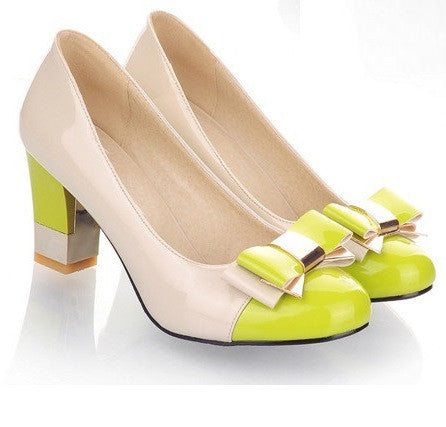 Lawn Green Toe Butterfly Knot PU Lining Rubber Outsole Heels Shoe For Women