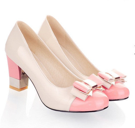 Pink Toe Butterfly Knot PU Lining Rubber Outsole Heels Shoe For Women
