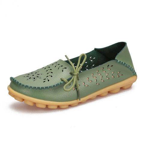 Green Genuine Leather Slip On Closure Loafer Shoe For Women