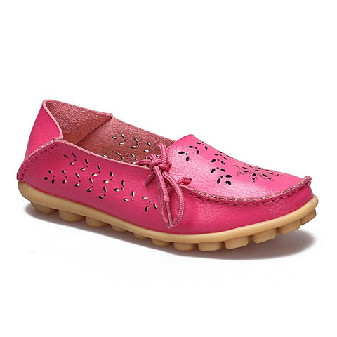 Hot Pink Genuine Leather Slip On Closure Loafer Shoe For Women