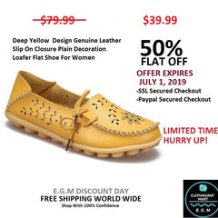 Deep Yellow Genuine Leather Slip On Closure Loafer Shoe For Women